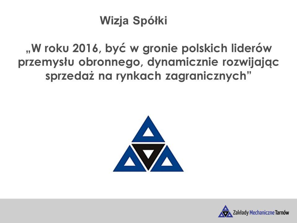 """Wizja Spółki """"W roku 2016, być w gronie polskich liderów przemysłu obronnego, dynamicznie rozwijając sprzedaż na rynkach zagranicznych"""