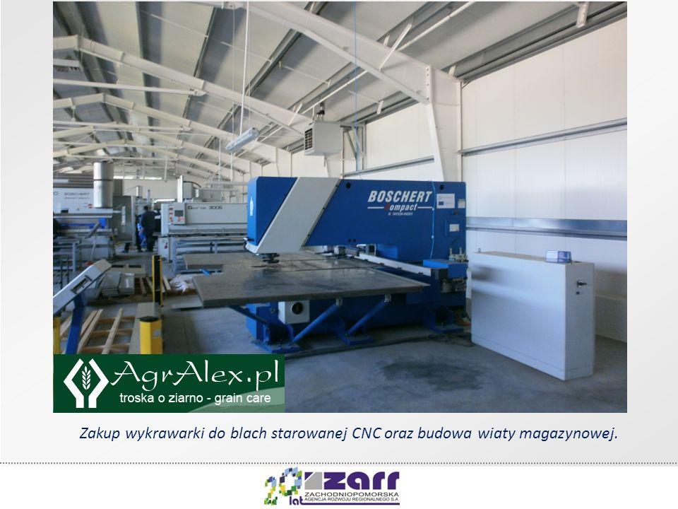 Zakup wykrawarki do blach starowanej CNC oraz budowa wiaty magazynowej.