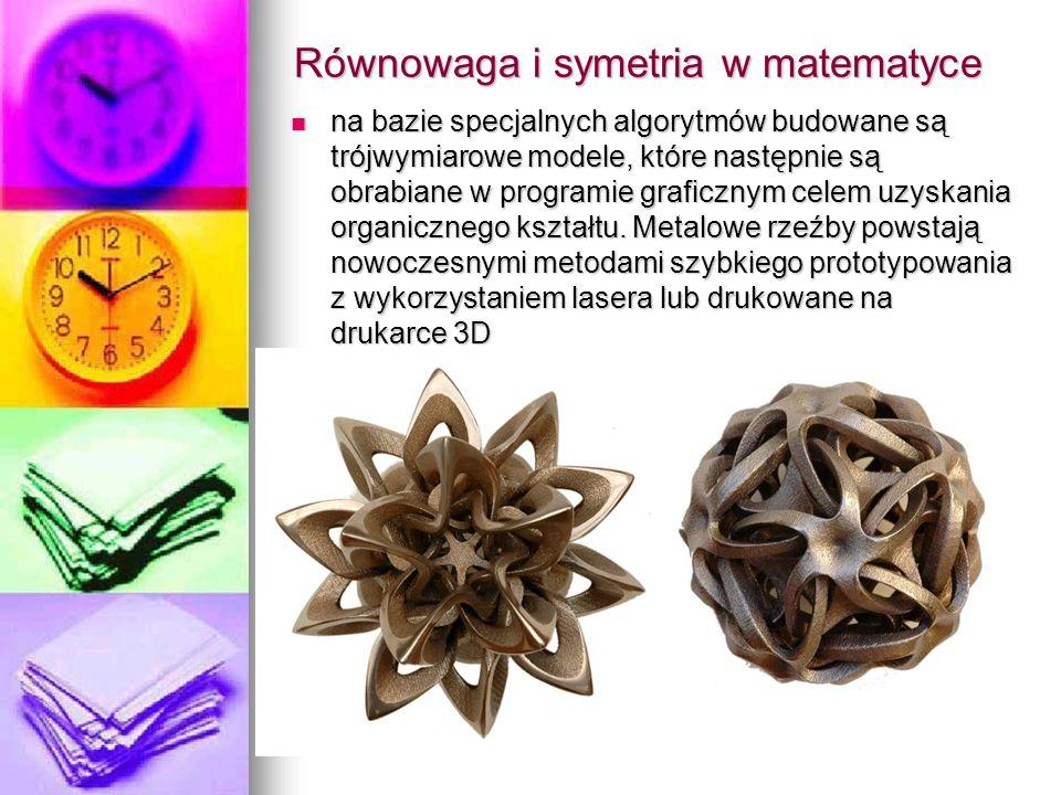 Równowaga i symetria w matematyce na bazie specjalnych algorytmów budowane są trójwymiarowe modele, które następnie są obrabiane w programie graficznym celem uzyskania organicznego kształtu.