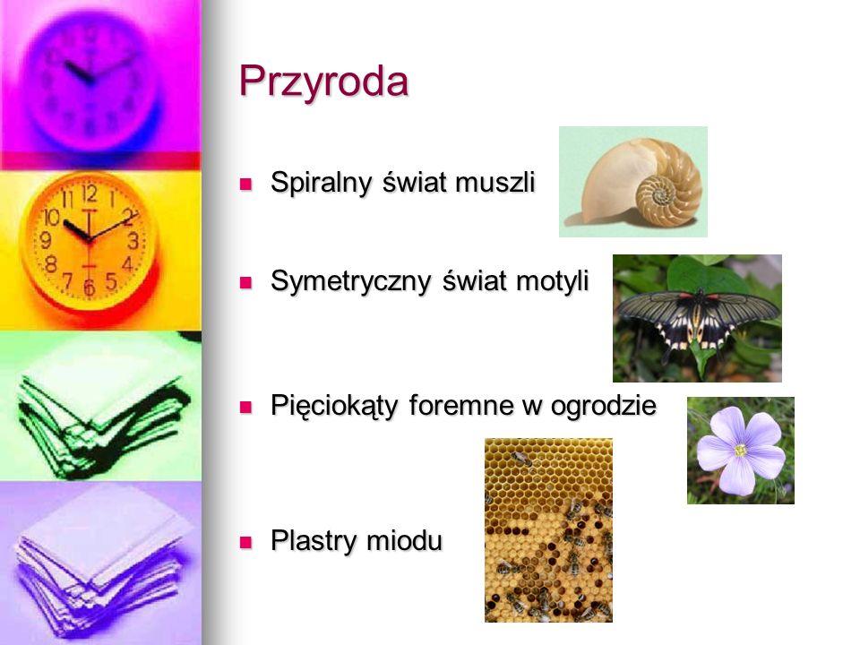 Przyroda Spiralny świat muszli Spiralny świat muszli Symetryczny świat motyli Symetryczny świat motyli Pięciokąty foremne w ogrodzie Pięciokąty foremne w ogrodzie Plastry miodu Plastry miodu