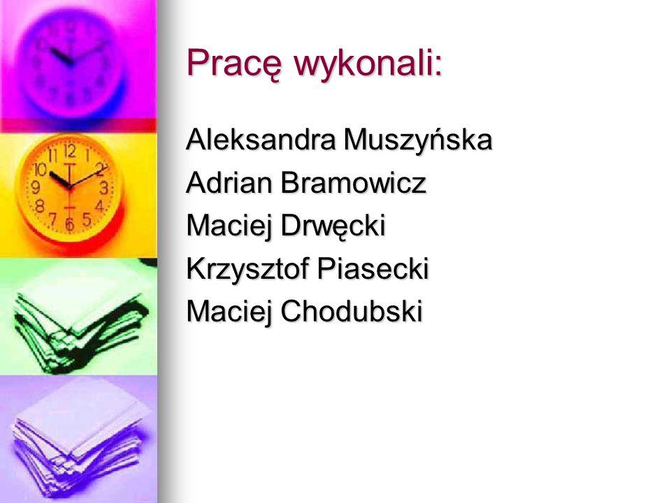 Aleksandra Muszyńska Adrian Bramowicz Maciej Drwęcki Krzysztof Piasecki Maciej Chodubski Pracę wykonali: