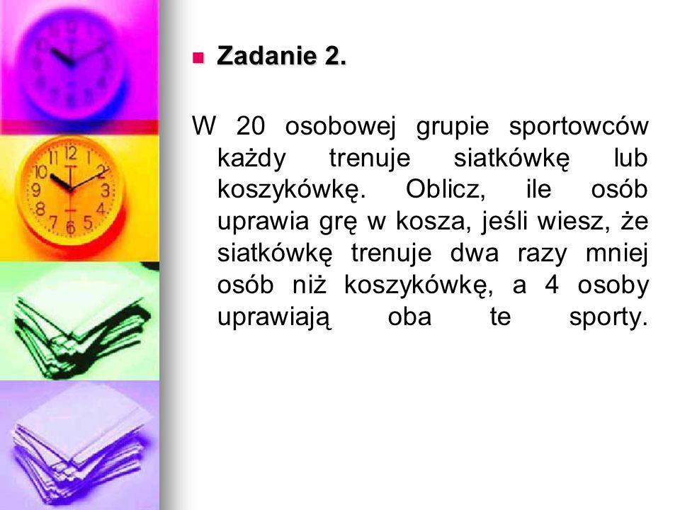 Zadanie 2. Zadanie 2. W 20 osobowej grupie sportowców każdy trenuje siatkówkę lub koszykówkę.