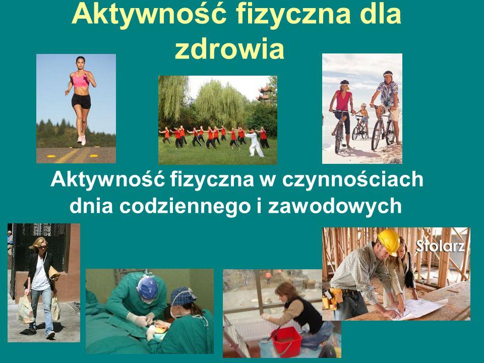 Aktywność fizyczna dla zdrowia Aktywność fizyczna w czynnościach dnia codziennego i zawodowych