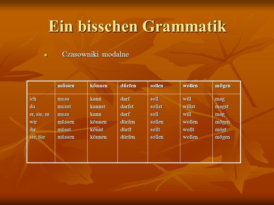 Ein bisschen Grammatik Czasowniki modalne Czasowniki modalne müssenkönnendürfensollenwollenmögen ichdu er, sie, es wirihr sie, Sie mussmusstmussmüssenmüsstmüssenkannkannstkannkönnenkönntkönnendarfdarfstdarfdürfendürftdürfensollsollstsollsollensolltsollenwillwillstwillwollenwolltwollenmagmagstmagmögenmögtmögen