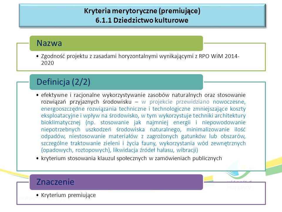 Zgodność projektu z zasadami horyzontalnymi wynikającymi z RPO WiM 2014- 2020 Nazwa efektywne i racjonalne wykorzystywanie zasobów naturalnych oraz st