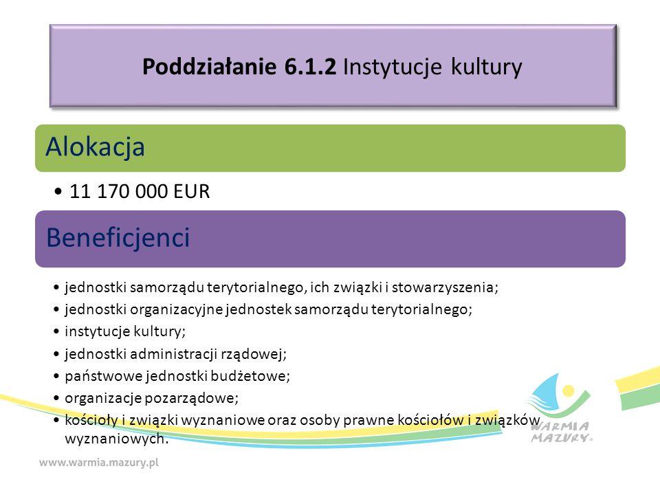 Poddziałanie 6.1.2 Instytucje kultury Alokacja 11 170 000 EUR Beneficjenci jednostki samorządu terytorialnego, ich związki i stowarzyszenia; jednostki