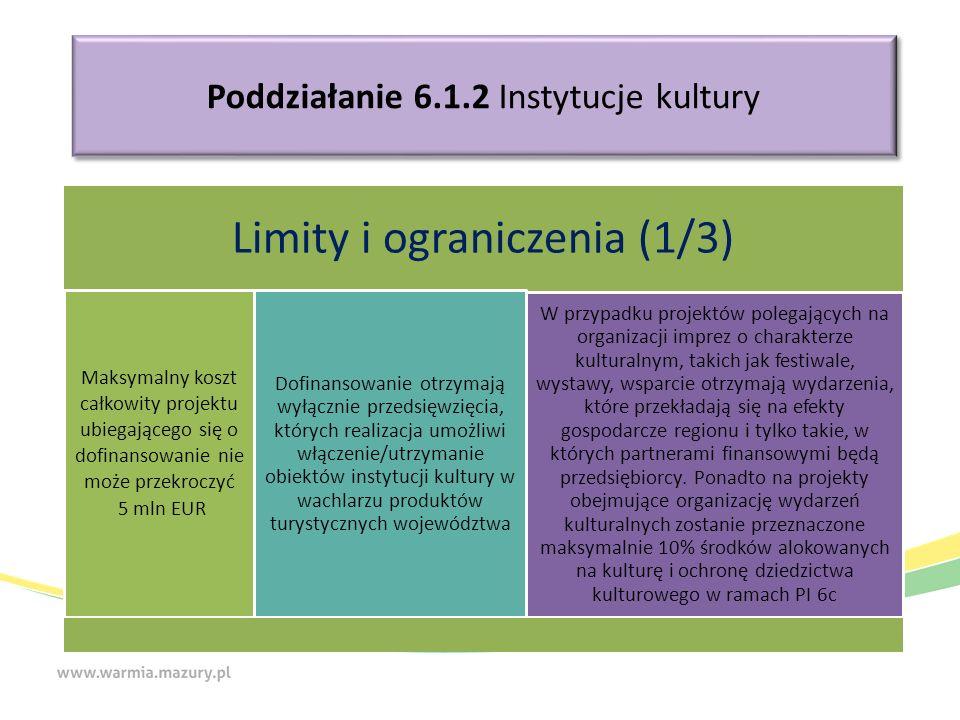 Poddziałanie 6.1.2 Instytucje kultury Limity i ograniczenia (1/3) Maksymalny koszt całkowity projektu ubiegającego się o dofinansowanie nie może przek