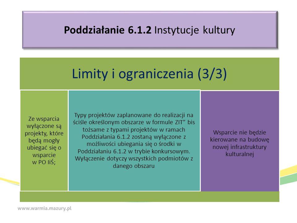 Poddziałanie 6.1.2 Instytucje kultury Limity i ograniczenia (3/3) Ze wsparcia wyłączone są projekty, które będą mogły ubiegać się o wsparcie w PO IiŚ; Typy projektów zaplanowane do realizacji na ściśle określonym obszarze w formule ZIT bis tożsame z typami projektów w ramach Poddziałania 6.1.2 zostaną wyłączone z możliwości ubiegania się o środki w Poddziałaniu 6.1.2 w trybie konkursowym.
