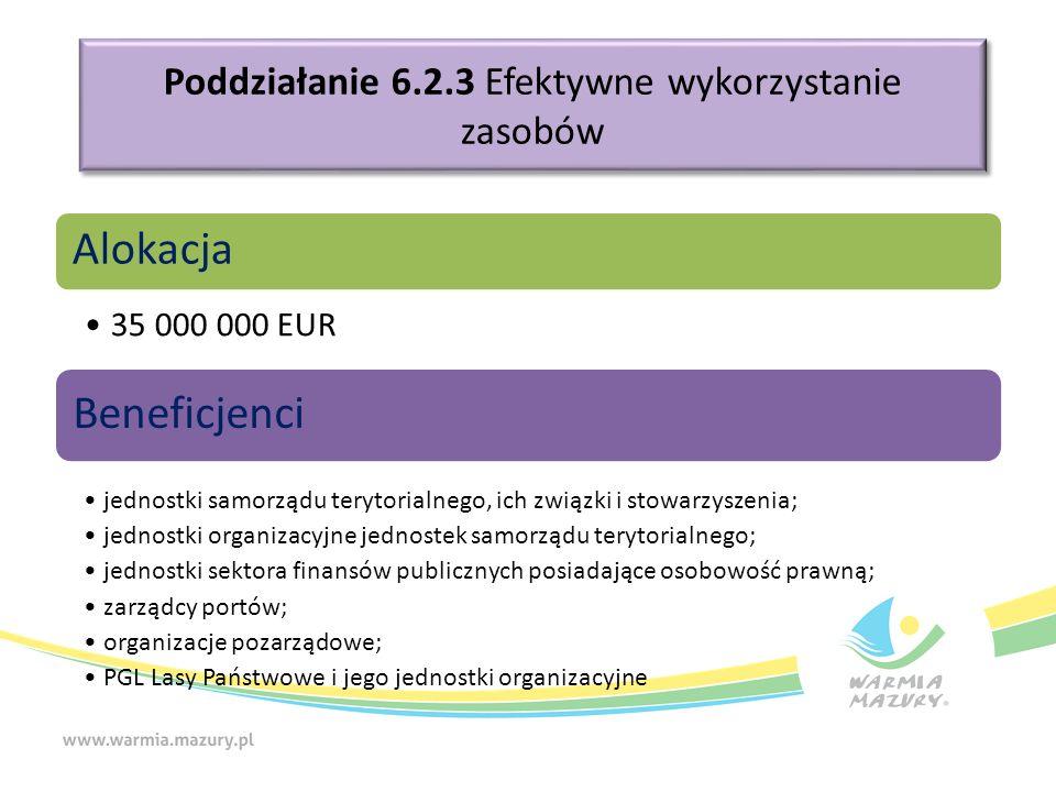 Poddziałanie 6.2.3 Efektywne wykorzystanie zasobów Alokacja 35 000 000 EUR Beneficjenci jednostki samorządu terytorialnego, ich związki i stowarzyszenia; jednostki organizacyjne jednostek samorządu terytorialnego; jednostki sektora finansów publicznych posiadające osobowość prawną; zarządcy portów; organizacje pozarządowe; PGL Lasy Państwowe i jego jednostki organizacyjne