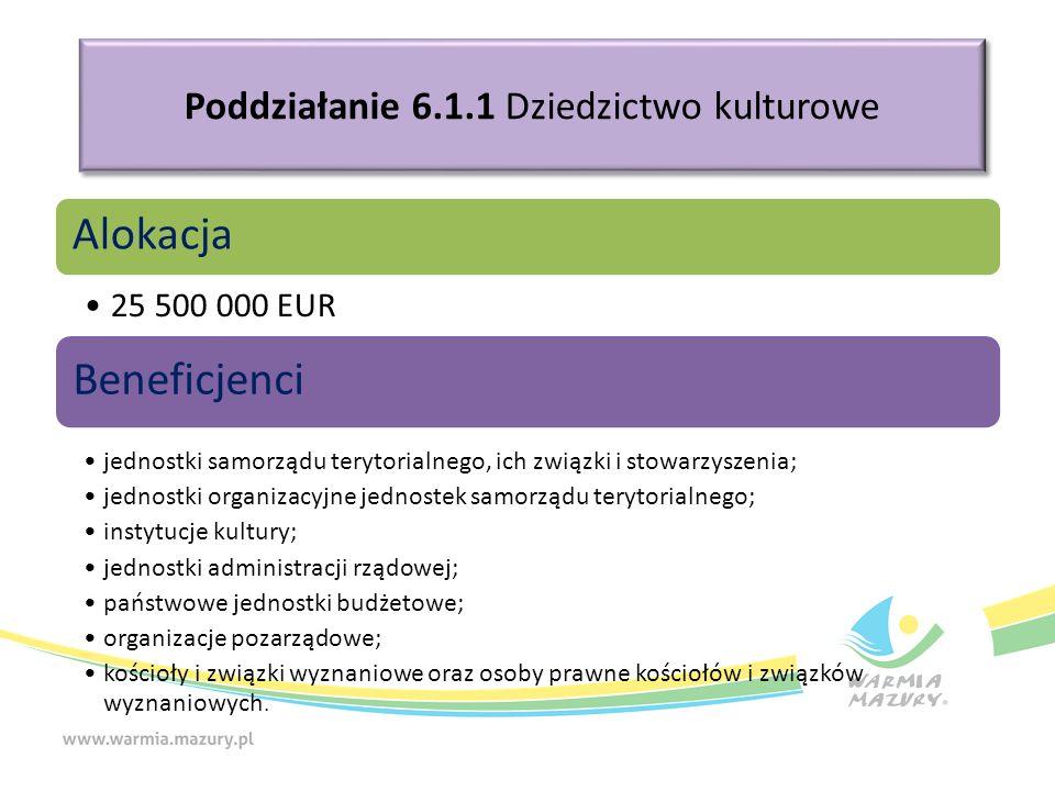 Poddziałanie 6.1.1 Dziedzictwo kulturowe Alokacja 25 500 000 EUR Beneficjenci jednostki samorządu terytorialnego, ich związki i stowarzyszenia; jednos