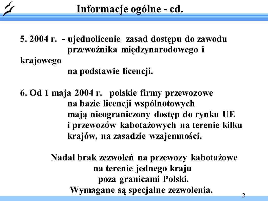 4 Informacje ogólne - cd.7. Zagadnienia spedycji nie są regulowane odrębnymi przepisami.