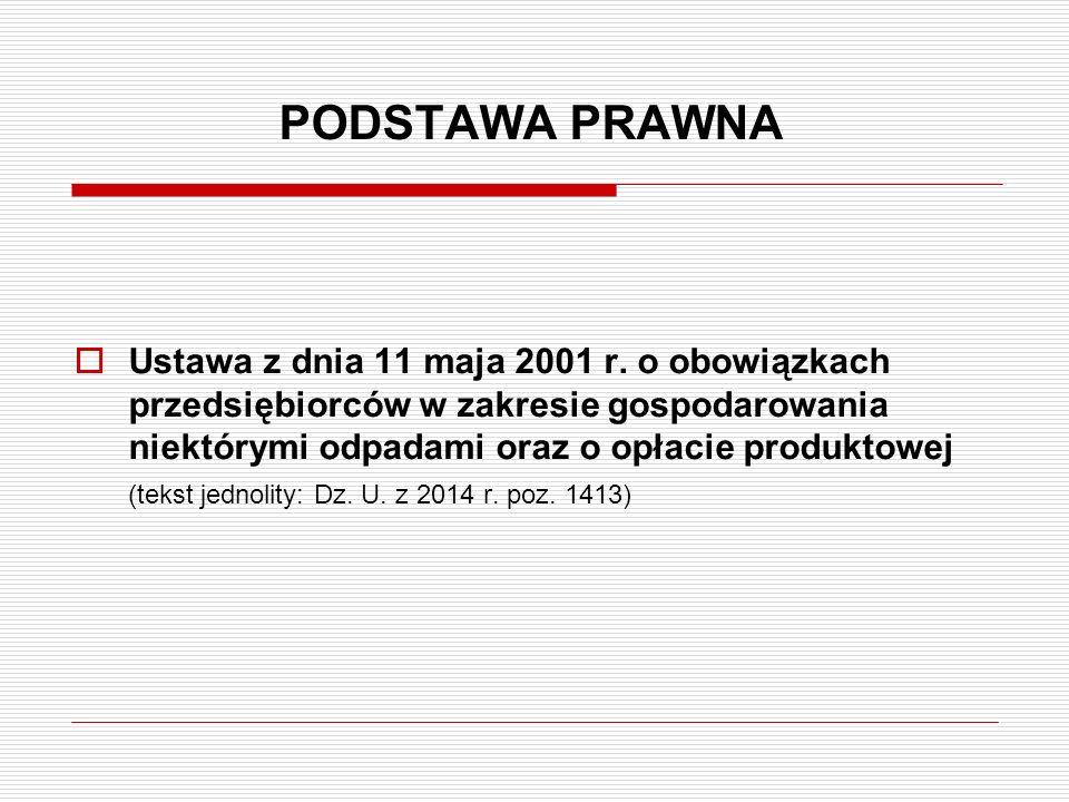 PODSTAWA PRAWNA  Ustawa z dnia 11 maja 2001 r. o obowiązkach przedsiębiorców w zakresie gospodarowania niektórymi odpadami oraz o opłacie produktowej