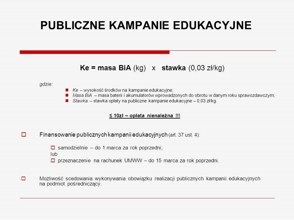 PUBLICZNE KAMPANIE EDUKACYJNE Ke = masa BiA (kg) x stawka (0,03 zł/kg) gdzie: Ke– wysokość środków na kampanie edukacyjne; Masa BiA – masa baterii i a