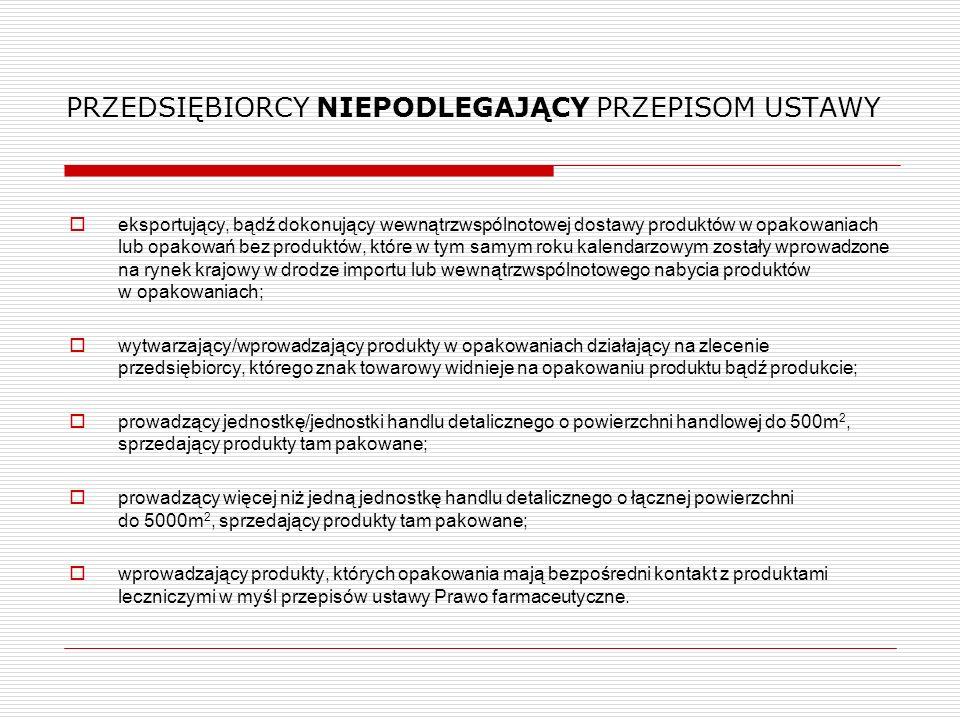 OBOWIĄZKI PRZEDSIĘBIORCÓW - realizacja za pośrednictwem organizacji odzysku  konieczność zawarcia umowy w formie pisemnej, pod rygorem nieważności;  przejęcie przez organizację obowiązku odzysku i recyklingu oraz sprawozdawczości w zakresie opłaty produktowej;  w przypadku otwarcia likwidacji lub ogłoszenia upadłości organizacji odzysku, obowiązki ponownie obciążają przedsiębiorcę w odniesieniu do masy opakowań wprowadzonych przez niego do obrotu od dnia 1 stycznia tego roku.