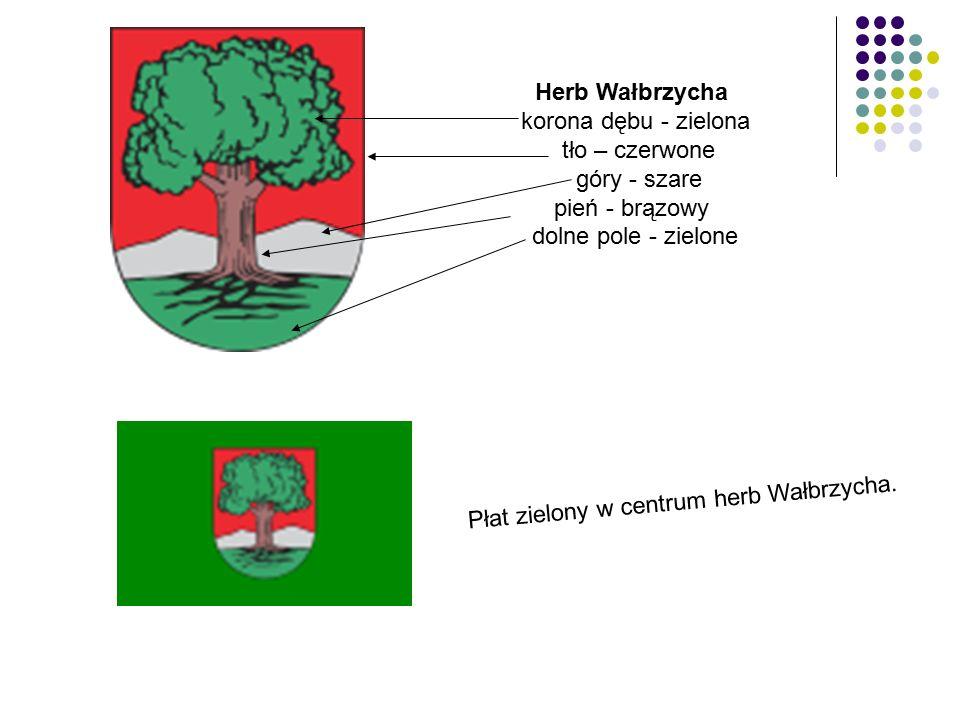 Herb Wałbrzycha korona dębu - zielona tło – czerwone góry - szare pień - brązowy dolne pole - zielone Płat zielony w centrum herb Wałbrzycha.