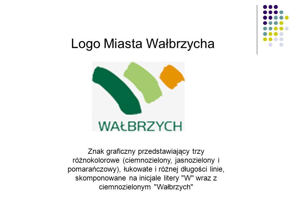 Logo Miasta Wałbrzycha Znak graficzny przedstawiający trzy różnokolorowe (ciemnozielony, jasnozielony i pomarańczowy), łukowate i różnej długości linie, skomponowane na inicjale litery W wraz z ciemnozielonym Wałbrzych
