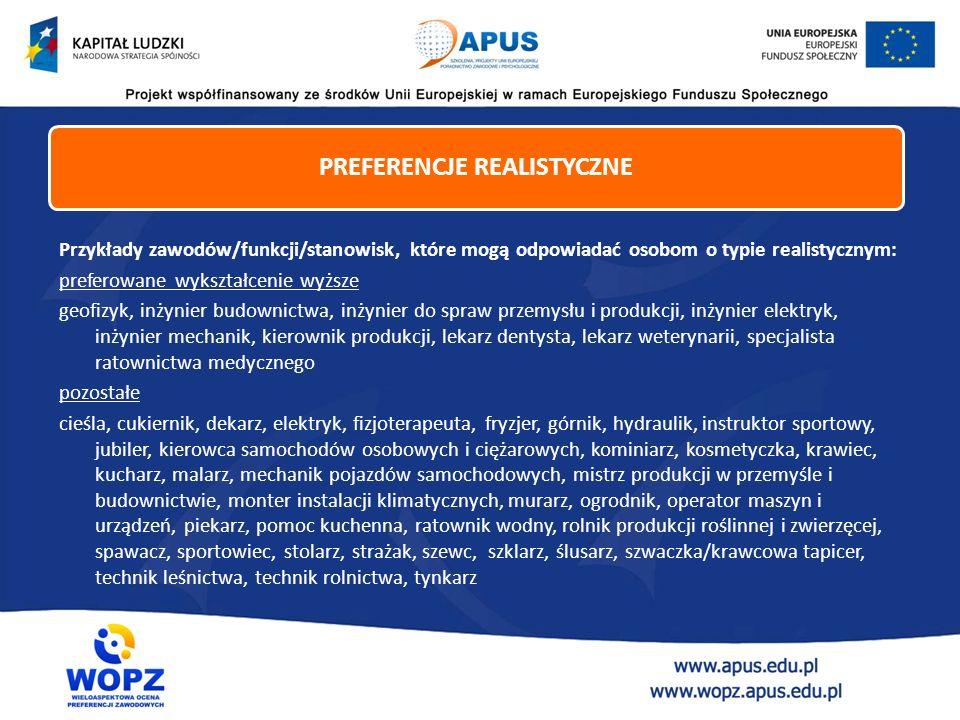 Przykłady zawodów/funkcji/stanowisk, które mogą odpowiadać osobom o typie realistycznym: preferowane wykształcenie wyższe geofizyk, inżynier budownict