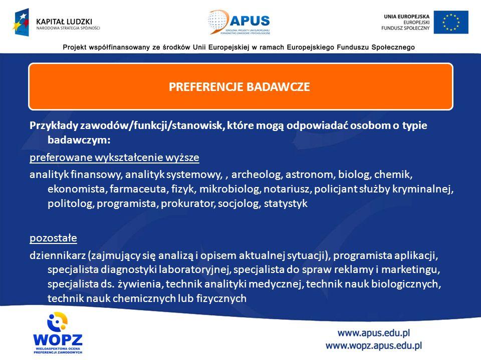 Przykłady zawodów/funkcji/stanowisk, które mogą odpowiadać osobom o typie badawczym: preferowane wykształcenie wyższe analityk finansowy, analityk sys