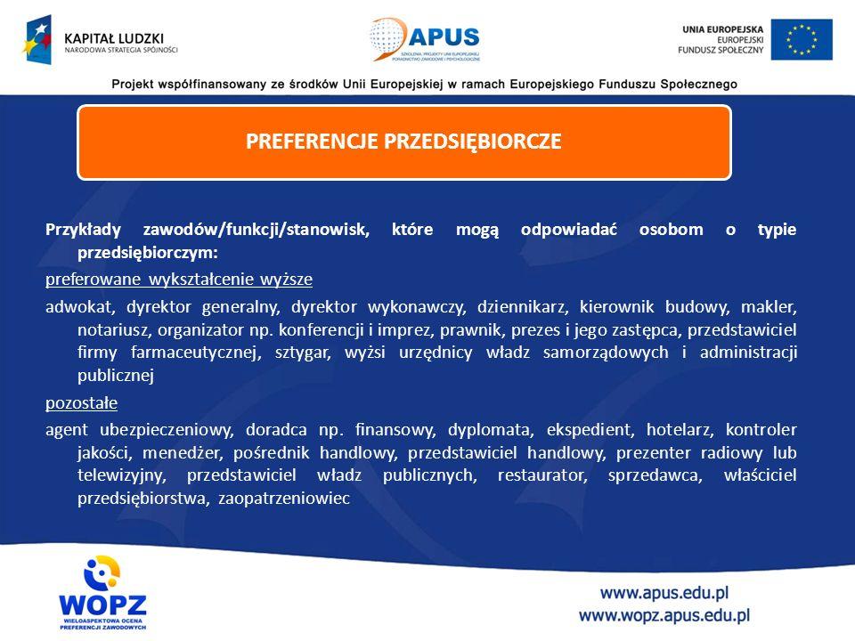 Przykłady zawodów/funkcji/stanowisk, które mogą odpowiadać osobom o typie przedsiębiorczym: preferowane wykształcenie wyższe adwokat, dyrektor general