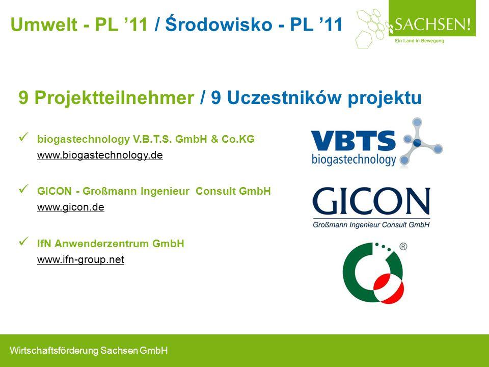 Wirtschaftsförderung Sachsen GmbH 9 Projektteilnehmer / 9 Uczestników projektu biogastechnology V.B.T.S.