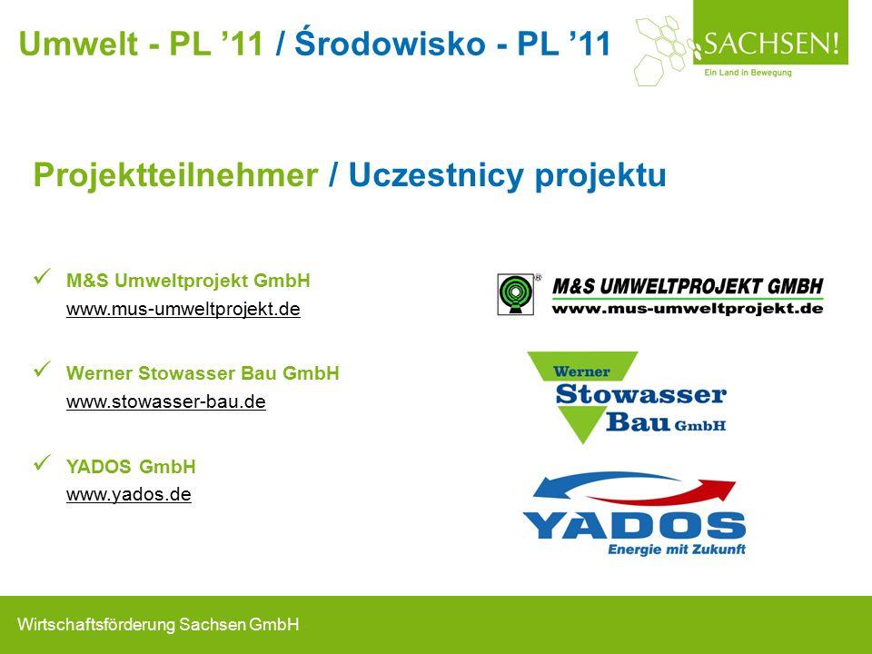 Wirtschaftsförderung Sachsen GmbH Projektteilnehmer / Uczestnicy projektu M&S Umweltprojekt GmbH www.mus-umweltprojekt.de Werner Stowasser Bau GmbH www.stowasser-bau.de YADOS GmbH www.yados.de Umwelt - PL '11 / Środowisko - PL '11