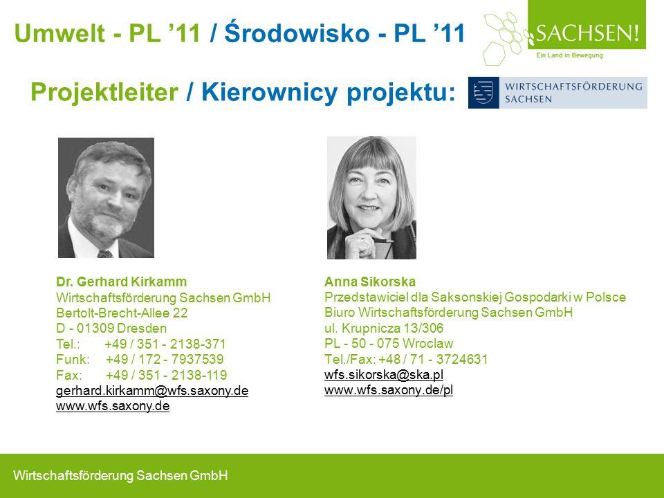 Wirtschaftsförderung Sachsen GmbH Projektleiter / Kierownicy projektu: Anna Sikorska Przedstawiciel dla Saksonskiej Gospodarki w Polsce Biuro Wirtschaftsförderung Sachsen GmbH ul.