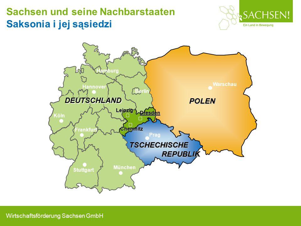 Wirtschaftsförderung Sachsen GmbH Sachsen und seine Nachbarstaaten Saksonia i jej sąsiedziDresden Prag Warschau Berlin Hamburg München Frankfurt Chemnitz Stuttgart Köln Hannover POLEN TSCHECHISCHE REPUBLIK REPUBLIK Leipzig DEUTSCHLAND