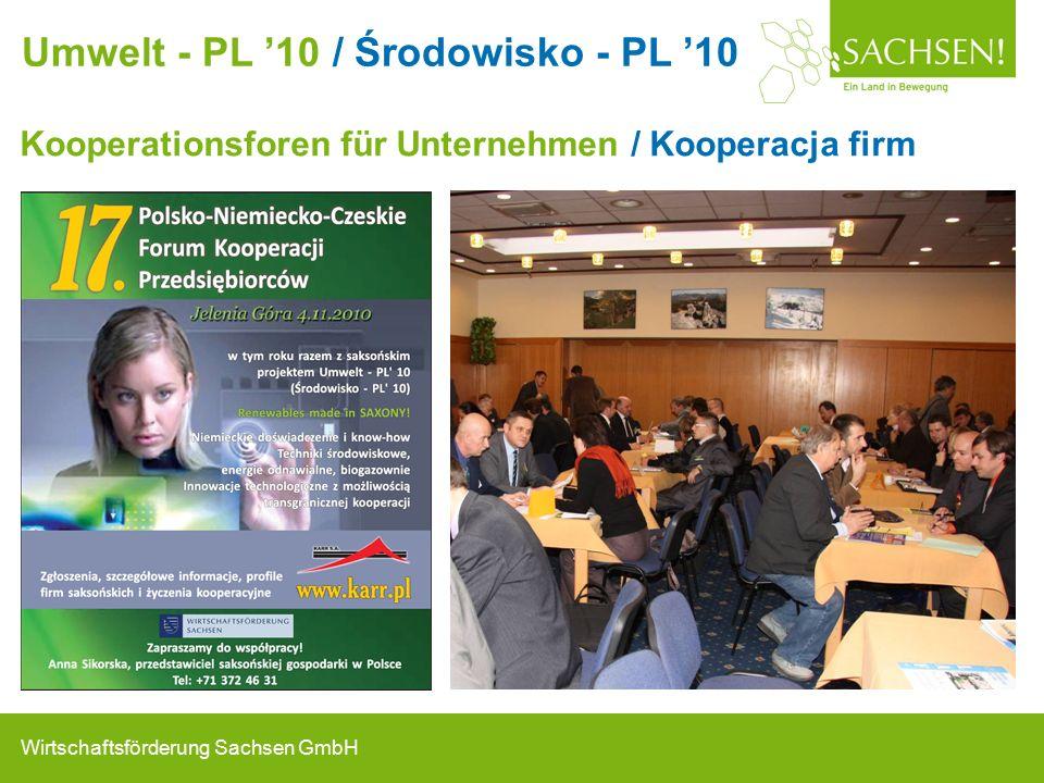 Wirtschaftsförderung Sachsen GmbH Kooperationsforen für Unternehmen / Kooperacja firm Umwelt - PL '10 / Środowisko - PL '10