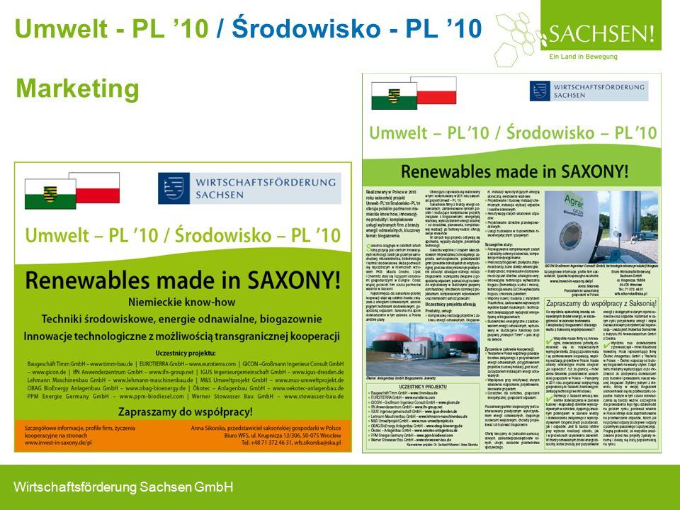 Wirtschaftsförderung Sachsen GmbH Marketing Umwelt - PL '10 / Środowisko - PL '10