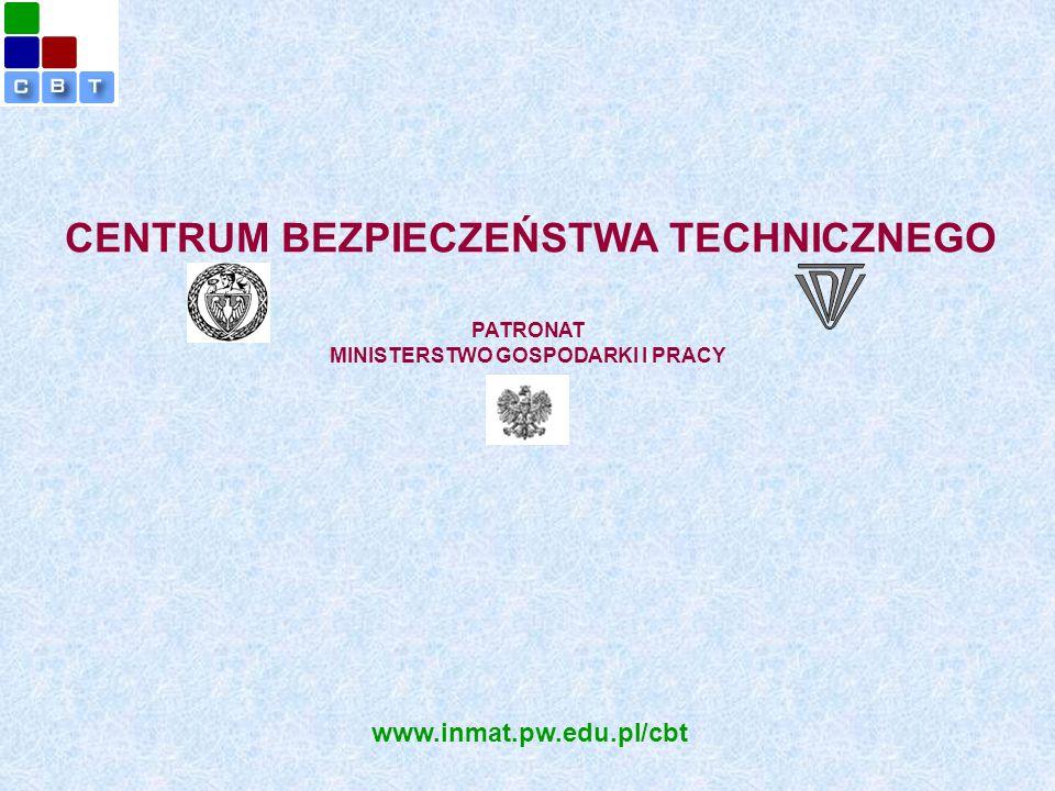 PATRONAT MINISTERSTWO GOSPODARKI I PRACY CENTRUM BEZPIECZEŃSTWA TECHNICZNEGO www.inmat.pw.edu.pl/cbt