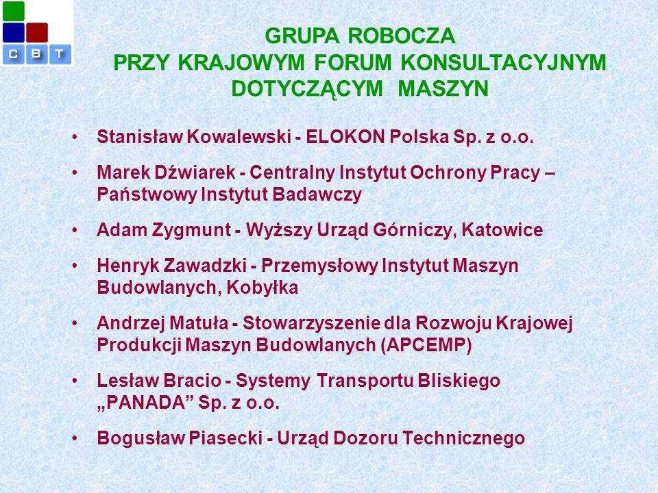 GRUPA ROBOCZA PRZY KRAJOWYM FORUM KONSULTACYJNYM DOTYCZĄCYM MASZYN Stanisław Kowalewski - ELOKON Polska Sp.