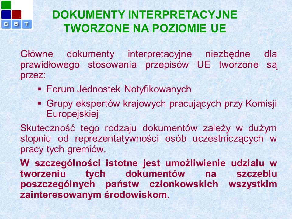 Główne dokumenty interpretacyjne niezbędne dla prawidłowego stosowania przepisów UE tworzone są przez:  Forum Jednostek Notyfikowanych  Grupy ekspertów krajowych pracujących przy Komisji Europejskiej Skuteczność tego rodzaju dokumentów zależy w dużym stopniu od reprezentatywności osób uczestniczących w pracy tych gremiów.