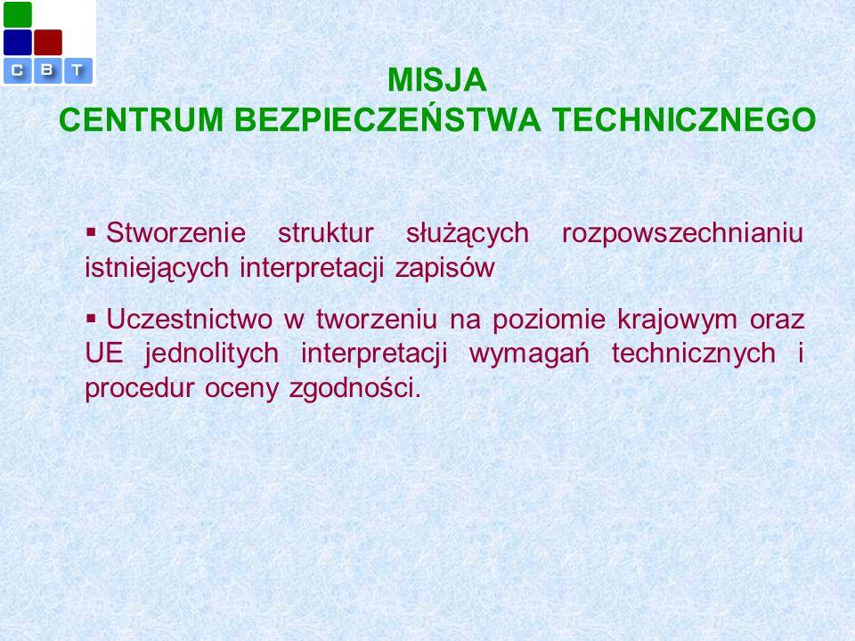 MISJA CENTRUM BEZPIECZEŃSTWA TECHNICZNEGO  Stworzenie struktur służących rozpowszechnianiu istniejących interpretacji zapisów  Uczestnictwo w tworzeniu na poziomie krajowym oraz UE jednolitych interpretacji wymagań technicznych i procedur oceny zgodności.