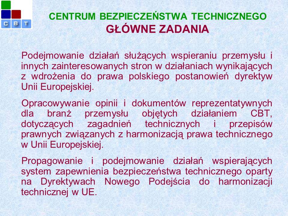 CENTRUM BEZPIECZEŃSTWA TECHNICZNEGO GŁÓWNE ZADANIA Podejmowanie działań służących wspieraniu przemysłu i innych zainteresowanych stron w działaniach wynikających z wdrożenia do prawa polskiego postanowień dyrektyw Unii Europejskiej.