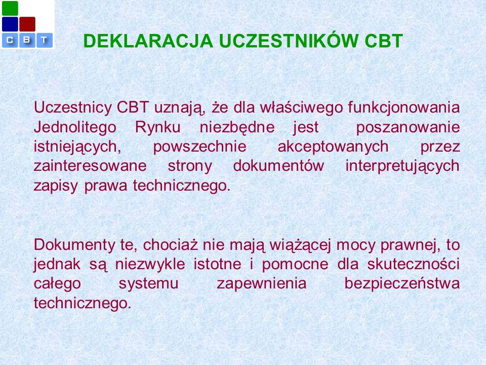 DEKLARACJA UCZESTNIKÓW CBT Uczestnicy CBT uznają, że dla właściwego funkcjonowania Jednolitego Rynku niezbędne jest poszanowanie istniejących, powszechnie akceptowanych przez zainteresowane strony dokumentów interpretujących zapisy prawa technicznego.