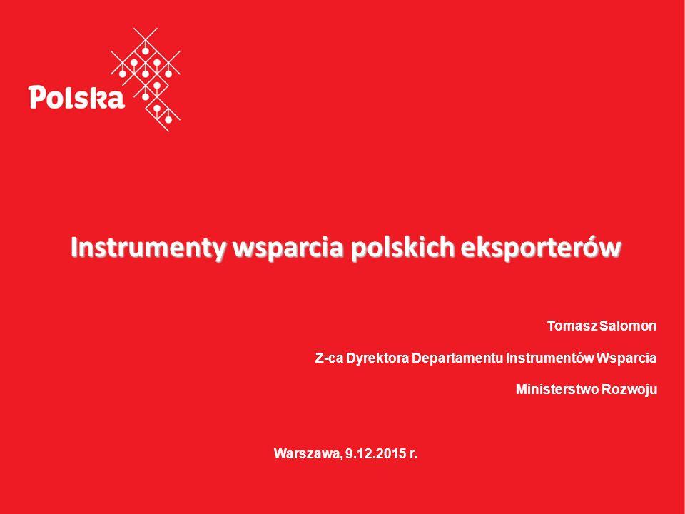 Projekt jest współfinansowany przez Unię Europejską ze środków Europejskiego Funduszu Rozwoju Regionalnego Instrumenty wsparcia polskich eksporterów Tomasz Salomon Z-ca Dyrektora Departamentu Instrumentów Wsparcia Ministerstwo Rozwoju Warszawa, 9.12.2015 r.