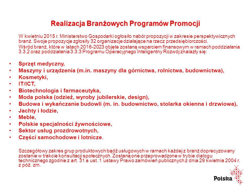 Realizacja Branżowych Programów Promocji W kwietniu 2015 r.
