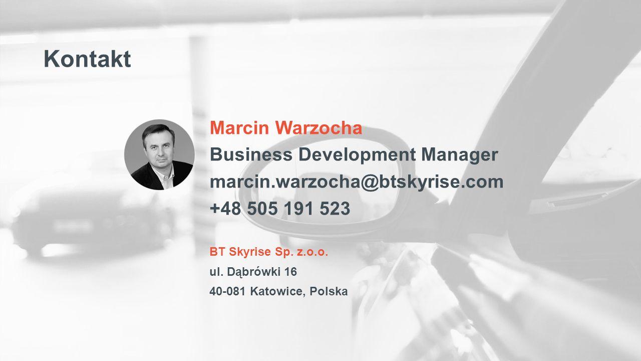 BT Skyrise Sp. z.o.o. ul. Dąbrówki 16 40-081 Katowice, Polska Marcin Warzocha Business Development Manager marcin.warzocha@btskyrise.com +48 505 191 5