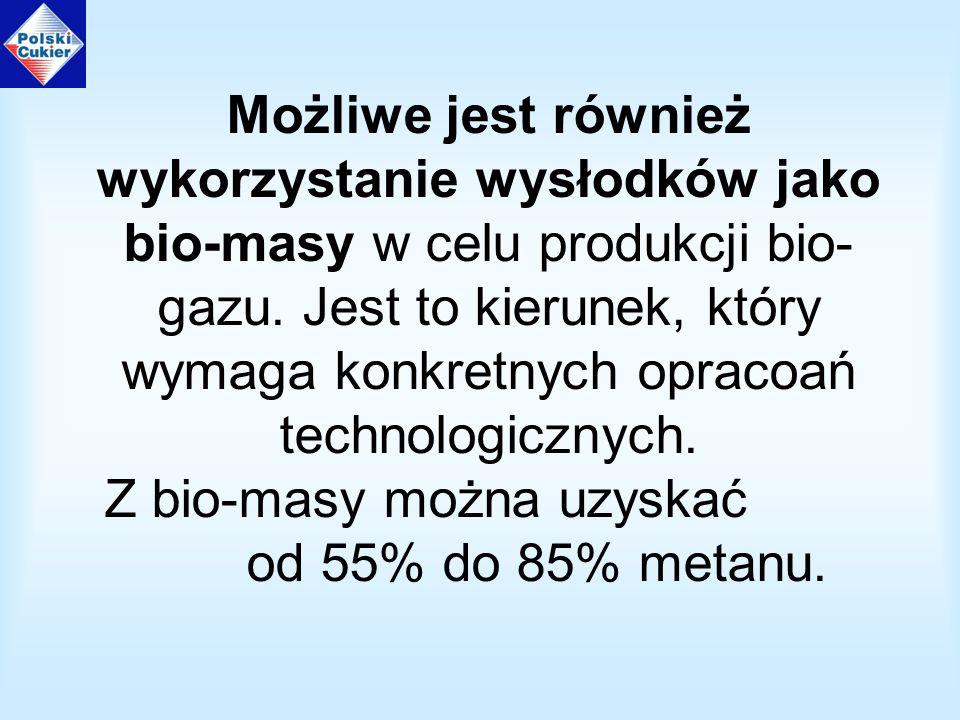 Możliwe jest również wykorzystanie wysłodków jako bio-masy w celu produkcji bio- gazu.