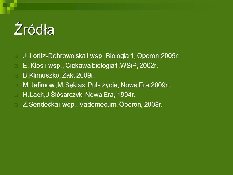 Źródła  J. Loritz-Dobrowolska i wsp.,Biologia 1, Operon,2009r.  E. Kłos i wsp., Ciekawa biologia1,WSiP, 2002r.  B.Klimuszko, Żak, 2009r.  M.Jefimo