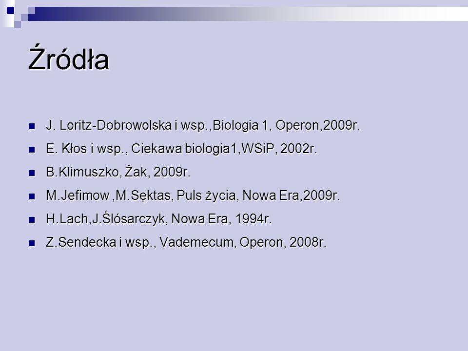 Źródła J. Loritz-Dobrowolska i wsp.,Biologia 1, Operon,2009r. J. Loritz-Dobrowolska i wsp.,Biologia 1, Operon,2009r. E. Kłos i wsp., Ciekawa biologia1