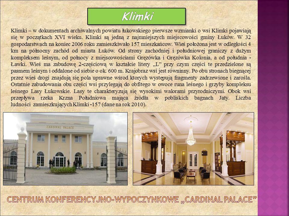 Klimki – w dokumentach archiwalnych powiatu łukowskiego pierwsze wzmianki o wsi Klimki pojawiają się w początkach XVI wieku. Klimki są jedną z najmnie