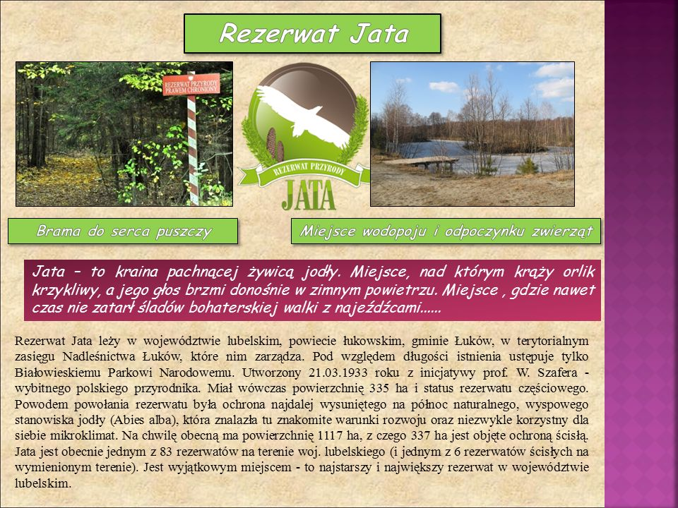 Rezerwat Jata leży w województwie lubelskim, powiecie łukowskim, gminie Łuków, w terytorialnym zasięgu Nadleśnictwa Łuków, które nim zarządza. Pod wzg