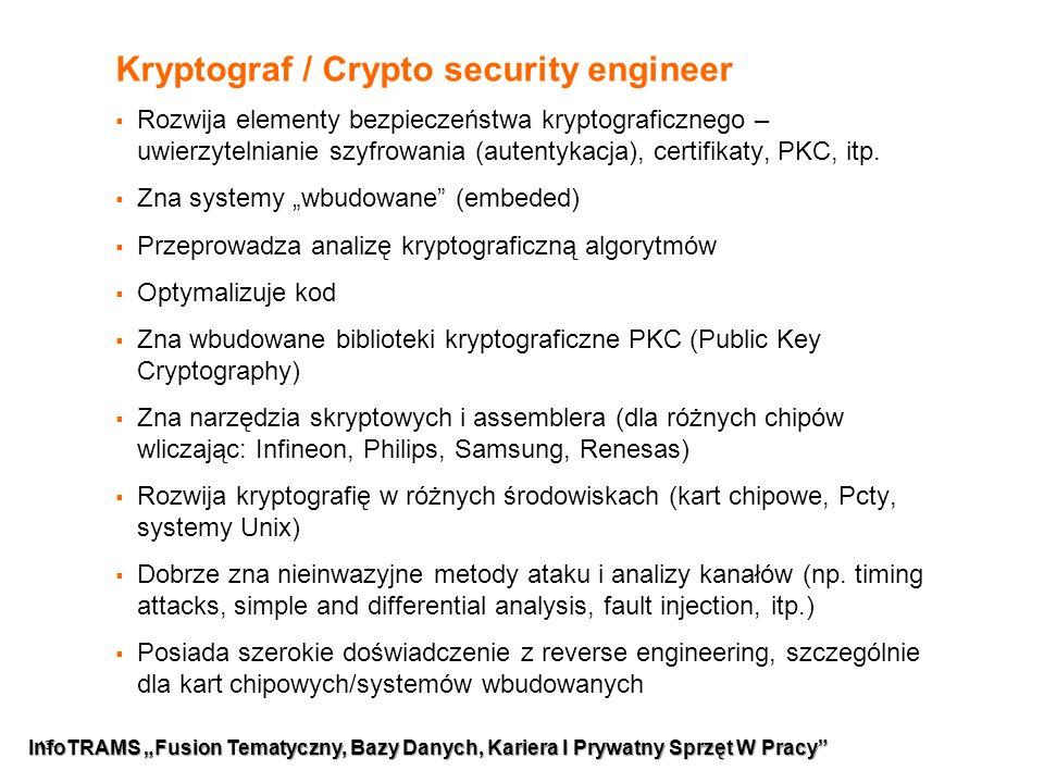 13 Kryptograf / Crypto security engineer  Rozwija elementy bezpieczeństwa kryptograficznego – uwierzytelnianie szyfrowania (autentykacja), certifikaty, PKC, itp.