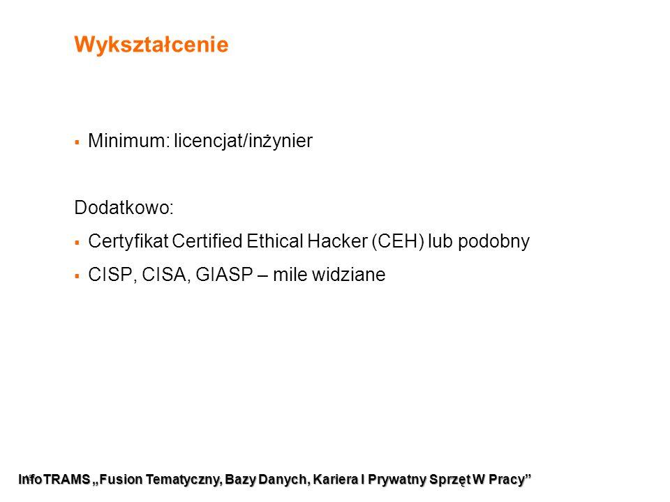 """19 Wykształcenie  Minimum: licencjat/inżynier Dodatkowo:  Certyfikat Certified Ethical Hacker (CEH) lub podobny  CISP, CISA, GIASP – mile widziane InfoTRAMS """"Fusion Tematyczny, Bazy Danych, Kariera I Prywatny Sprzęt W Pracy"""