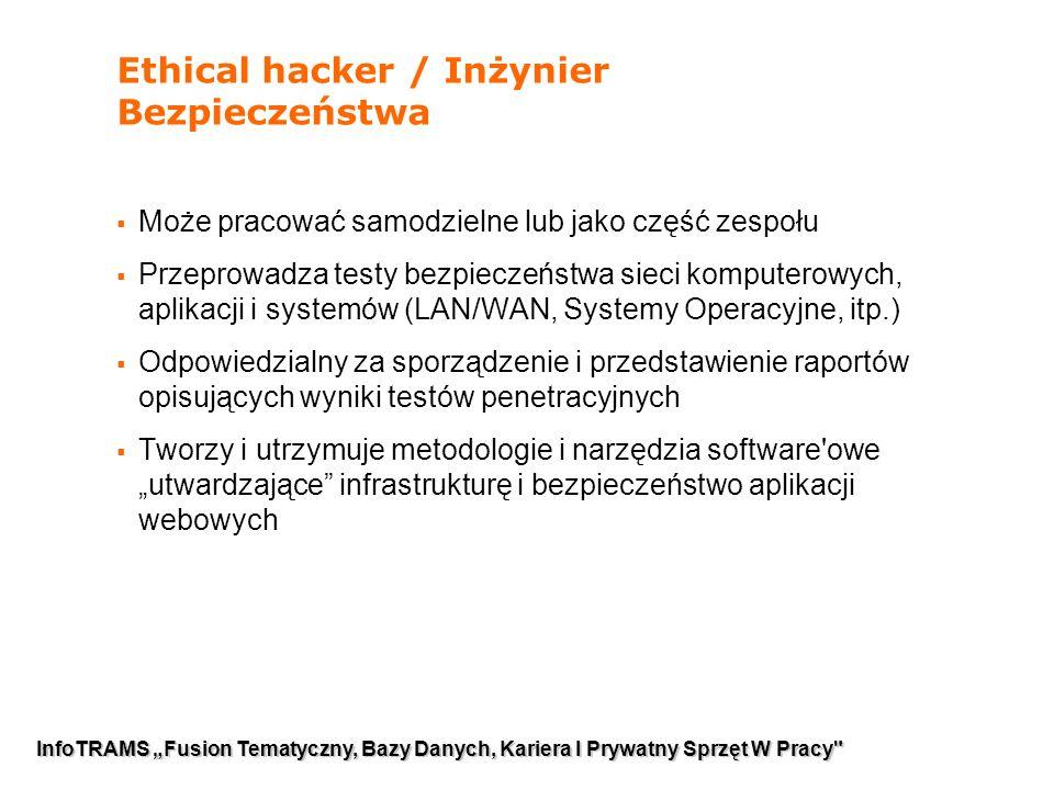 """3 Ethical hacker / Inżynier Bezpieczeństwa  Może pracować samodzielne lub jako część zespołu  Przeprowadza testy bezpieczeństwa sieci komputerowych, aplikacji i systemów (LAN/WAN, Systemy Operacyjne, itp.)  Odpowiedzialny za sporządzenie i przedstawienie raportów opisujących wyniki testów penetracyjnych  Tworzy i utrzymuje metodologie i narzędzia software owe """"utwardzające infrastrukturę i bezpieczeństwo aplikacji webowych InfoTRAMS """"Fusion Tematyczny, Bazy Danych, Kariera I Prywatny Sprzęt W Pracy"""