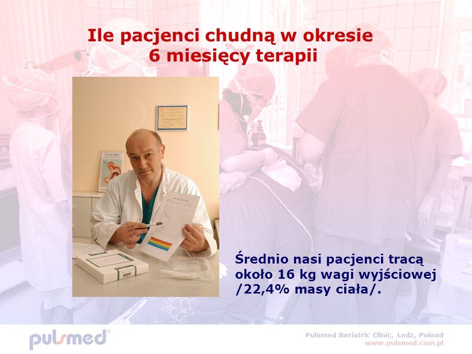 Pulsmed Bariatric Clinic, Lodz, Poland www.pulsmed.com.pl Ile pacjenci chudną w okresie 6 miesięcy terapii Średnio nasi pacjenci tracą około 16 kg wagi wyjściowej /22,4% masy ciała/.