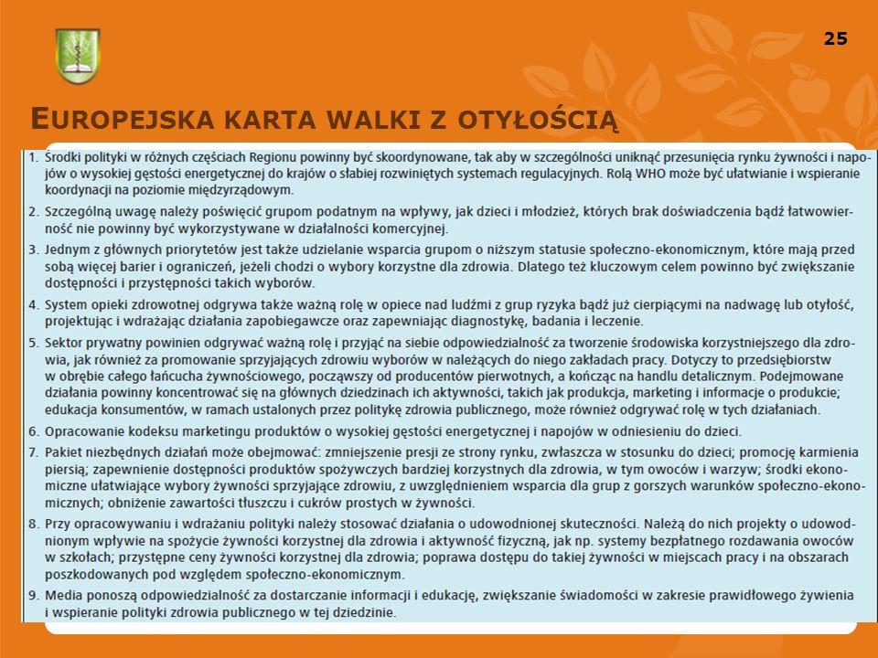 25 E UROPEJSKA KARTA WALKI Z OTYŁOŚCIĄ