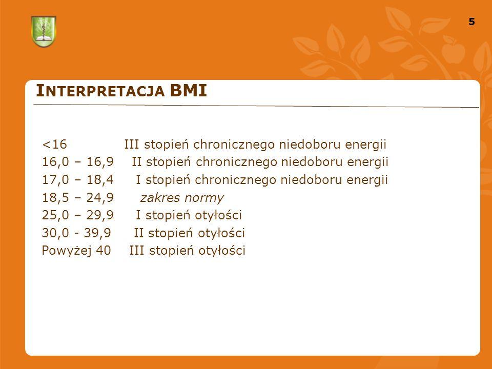 5 5 I NTERPRETACJA BMI <16 III stopień chronicznego niedoboru energii 16,0 – 16,9 II stopień chronicznego niedoboru energii 17,0 – 18,4 I stopień chronicznego niedoboru energii 18,5 – 24,9 zakres normy 25,0 – 29,9 I stopień otyłości 30,0 - 39,9 II stopień otyłości Powyżej 40 III stopień otyłości
