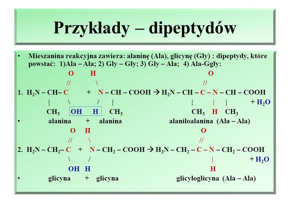 Peptydy i reakcja kondensacji aminokwasów Peptydy – produkty reakcji pomiędzy cząsteczkami α-aminokwasów (reakcja peptyzacji) – peptyzacja jest reakcj